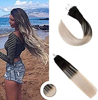 Ugeat 20inch Micro Ring Loop Hair Extensions Balayage Darkest Brown with Platinum Blonde 1g/Strand Micro Loop Human Hair Extensions 50Strands Micro Beads Link Hair Extensions
