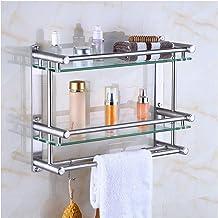 Yxsd bathroom shelves, Glas met haak, RVS douchebak en rail rail (Kleur: 2tiers, Maat: 50cm)