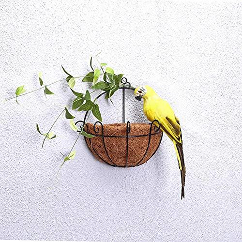 xiaobobo Modelo de simulación, 25/35 cm Loro de simulación Hecho a Mano Creativo Pluma Césped Adorno Estatuilla Animal Pájaro Jardín Decoración de Accesorios de Aves, Amarillo, 35 cm