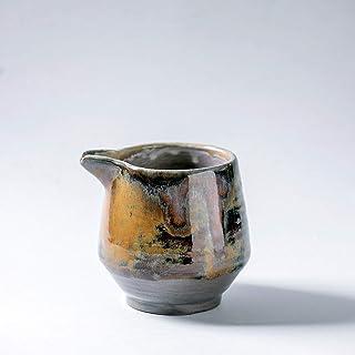 Cuenco de jarra de leche de cerámica vintage rústico hecho a mano decoración del hogar esmalte marrón gris oscuro con textura