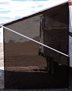 Tentproinc RV Awning Side Sun Shade 9'X7' Brown Mesh Screen Sunshade Complete Kits Motorhome Camping Trailer Canopy UV Blocker - 3 Years Limited Warranty