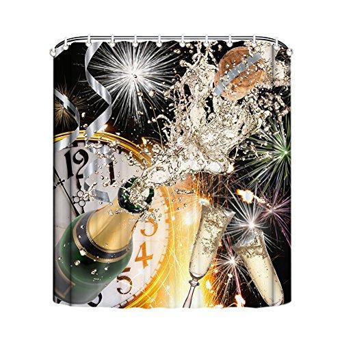Gd Rideau de bière Designs Rideau de douche Anti Moisissure Salle De Bain Salle de Bain Rideaux drôle décoratif rideau de douche liner avec crochets Polyester Imperméable Lavable en machine, Polyester, C, 165x180cm