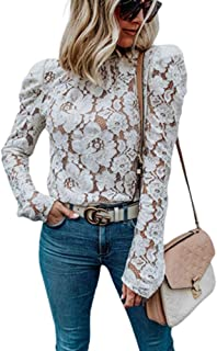 Women's Round Neck Long Sleeve Floral Mesh Lace Sheer Crochet Blouse Top T-Shirt