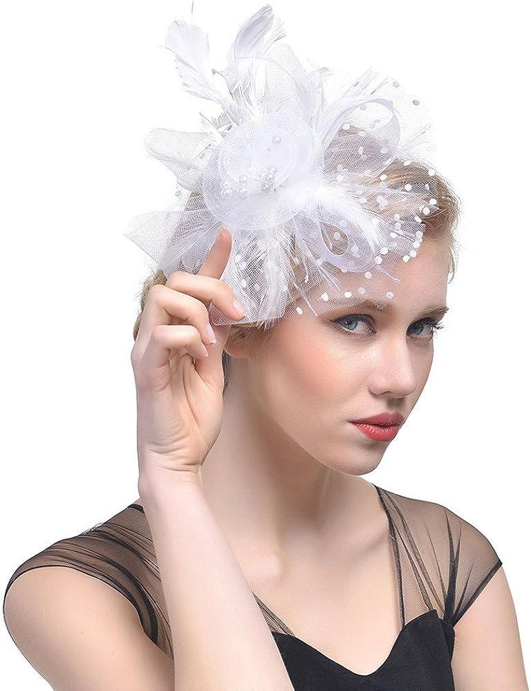 NC Hat for Women Tea Party Headband Wedding Flower Cocktail Mesh Feathers Hair Clip Hats Pillbox Headwear with Veil Girls