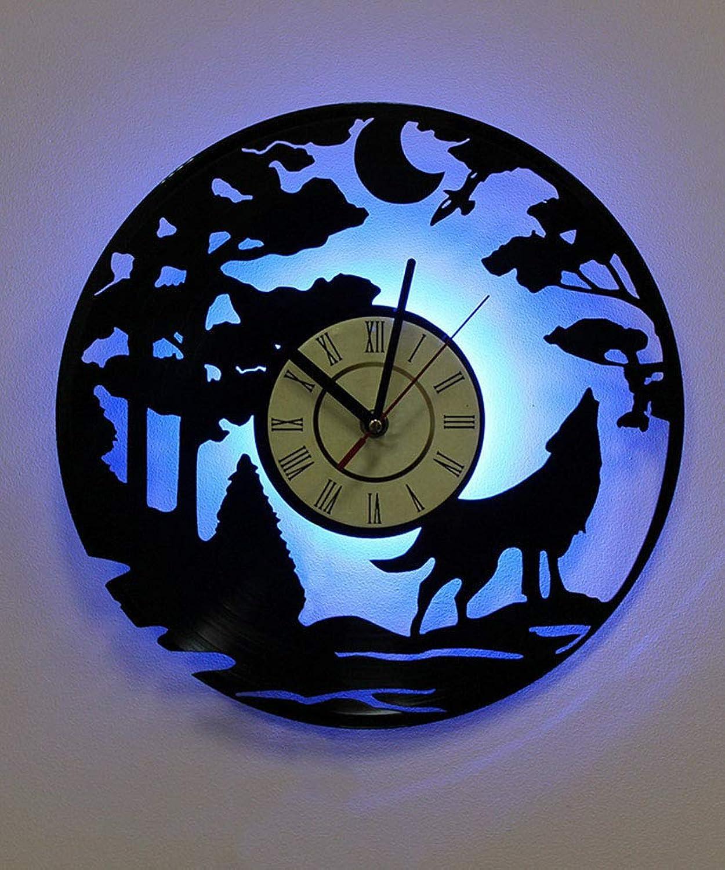 mejor precio ZBE LED De De De Vinilo Reloj Bosque Luna Lobo con Control Remoto Retroiluminación Hecha A Mano Vintage Arte Decoración,negro  ahorra hasta un 30-50% de descuento