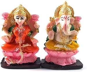 """Buycrafty 4""""Hermoso par de señor Ganesha y Lakshmi Estatua de Resina para Diwali/deepawali Pooja Puja. Luxmi Ganesh Estatua. Pooja. deewali Diwali/deepawali Puja Estatua"""