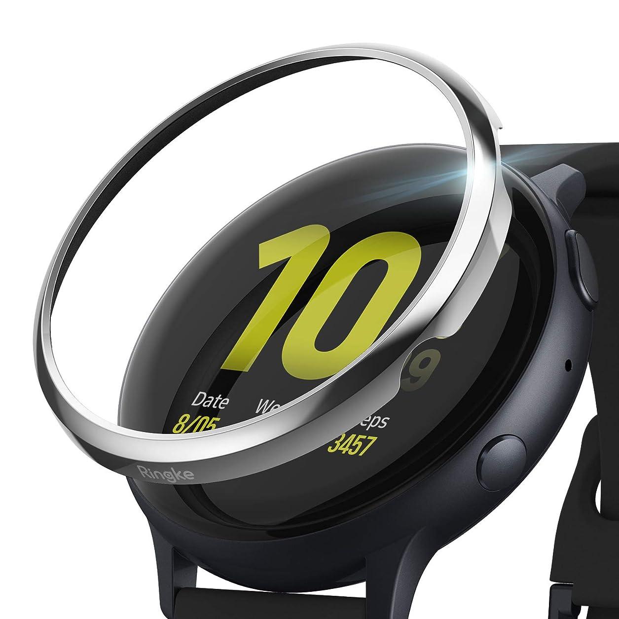 含む流す依存【Ringke】Galaxy Watch Active2 44mm ケース/ギャラクシー ウォッチ アクティブ ケース スリム 保護カバー スマートウォッチ ケース 耐衝撃 ステインレス画面保護-[Stainless] Galaxy Watch Active 2 Bezel Styling GW-A2-44-01 (Glossy Silver グロッシーシルバー)