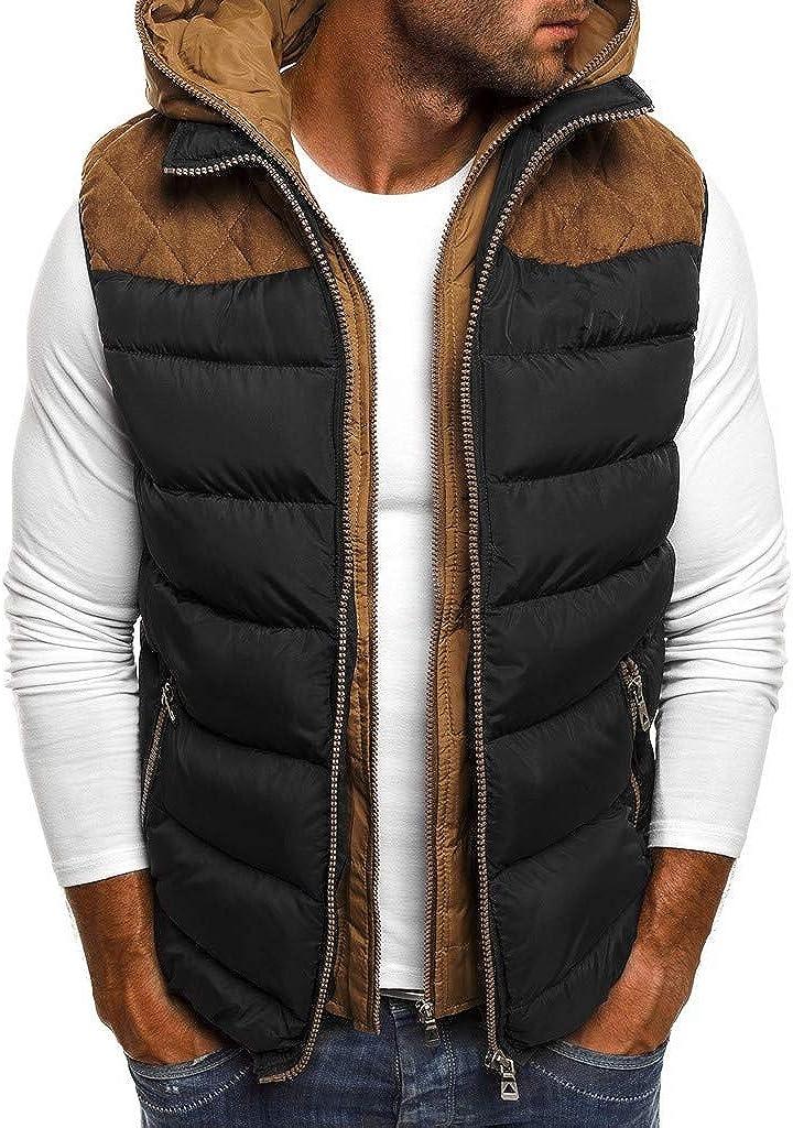 Fanteecy Men's Winter Puffer Vest Warm Sleeveless Winter Jacket Fashion Solid Waistcoat Vest Top Coat for Men
