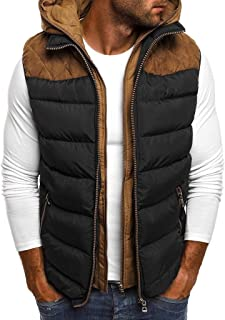 Men's Zipper Hoodie Vest Gilet Padded Vest Sleeveless Jacket Hooded Winter Outwear Jacket Waistcoat Top Coat