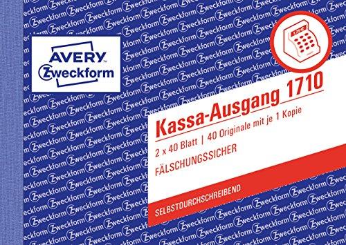AVERY Zweckform 1710 Kassa-Ausgang speziell für Österreich (A6 quer, 2x40 Blatt, selbstdurchschreibend mit farbigem Durchschlag, fälschungssicherer Dokumentendruck) weiß/rosa