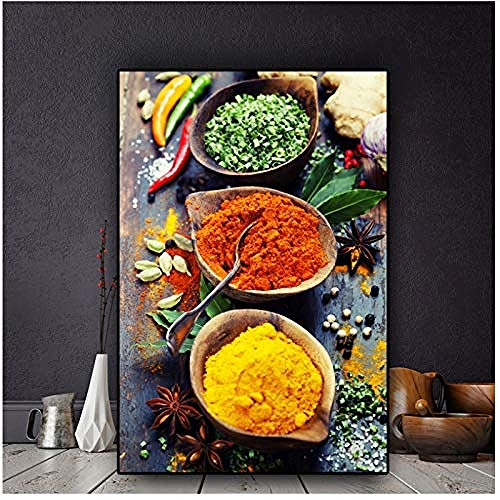 Canvas print,Granen Kruiden Lepel Paprika's Voedsel Foto Woondecoratie Modulaire Creativiteit Wall Art Prints Nordic Stijl Poster Voor Woonkamer-40x60cm