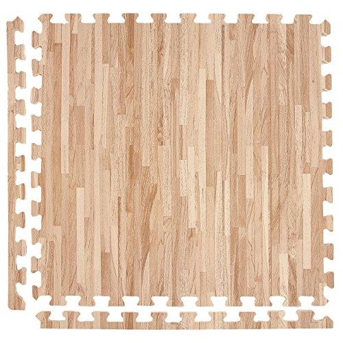 IncStores Soft Wood Foam Tiles (6 Tiles, Textured Maple) 2ft x 2ft Interlocking Floor Tiles with Edges
