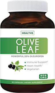 Olive Leaf Extract (Non-GMO) Super Strength: 20% Oleuropein - 750mg - Vegetarian - Immune Support, Cardiova...