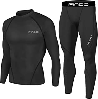 eiuEQIU Men's Sportswear Functional Shirt 2 Piece Compression Set Quick-Drying Breathable Fitness Running Suit Sportswear ...