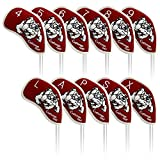 Craftsman Golf 11pcs (4,5,6,7,8,9,A,S,P,L,X) Bulldog Waterproof Pu Leather Iron Headcover Head Covers Set for Taylormade,Callaway and Other Brand (Red)