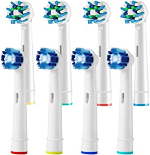 8 Pack Toothbrush Replacement Heads Compatible with Oral B Electric Toothbrush - 4 Cross Action, 4 Precision Clean