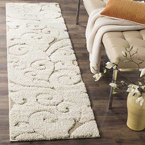 Safavieh Florida Shag Collection SG455-1113 Scrolling Vine Graceful Swirl Textured 1.18-inch Thick Runner, 2' 3' x 10', Cream/Beige