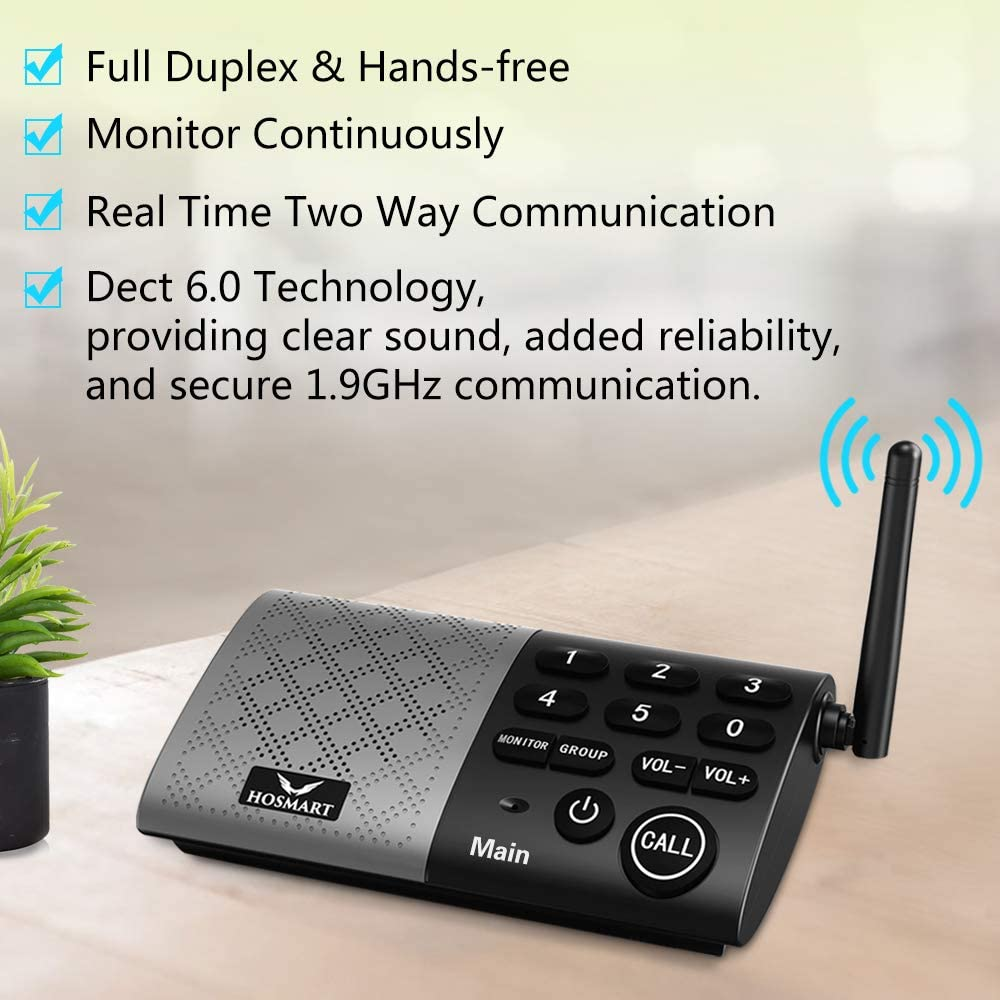 Hosmart Full Duplex Wireless Intercom System Real Time, Two -Way Communication, with DECT_6.0 Technology for Home and Office,Hands Free, Portable intercom, with Crystal Clear Sound (Battery Included)
