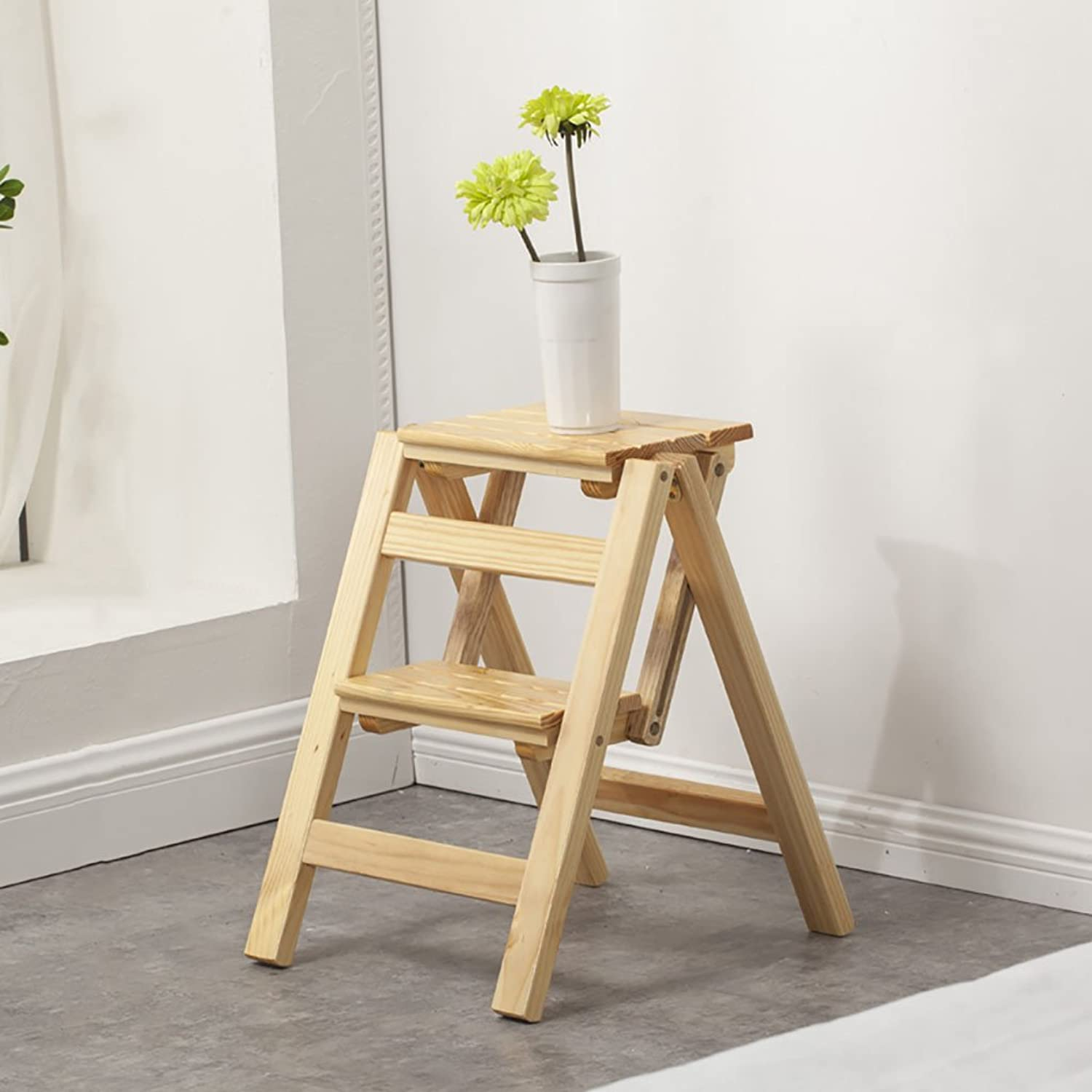 JINLINE Folding Step Stool Solid Wood 2 Step Ladder Stool Flower Shelf Home Multi-Function Indoor Small Ladder Step Stool (color   Wood color)