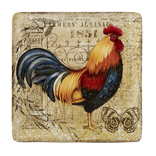Certified International Gilded Rooster Square Platter Ceramic Serveware, One Size/12.5, Multicolor