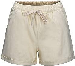 JOFOW Shorts Summer Womens Solid Drawstring Elastic Loose Comfy Casual Mini Pants