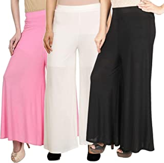 Pixie Casual Wear Pant Palazzo Combo (Pack of 3) Black, White and Baby Pink - Free Size