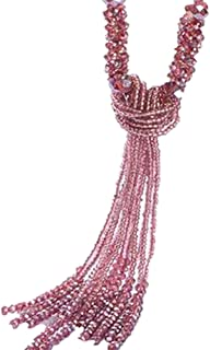 Fashion Long Beaded Necklaces Vintage Crystal Jewelry Tassel Necklace for Women