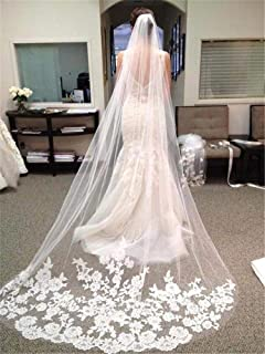 Bridal Veil Bride Veil With Comb Lace Edge Cathedral Length Wedding Accessories White Ivory 0530 yynha (Color : Ivory)