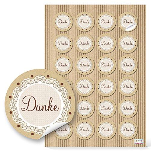 96 kleine runde DANKE Aufkleber Geschenkaufkleber natur beige braun vintage Dankeschön Sticker Etiketten 4 cm Geschenk-Verpackung Gastgeschenk Hochzeit give-away Mitgebsel für Kunden und Gäste