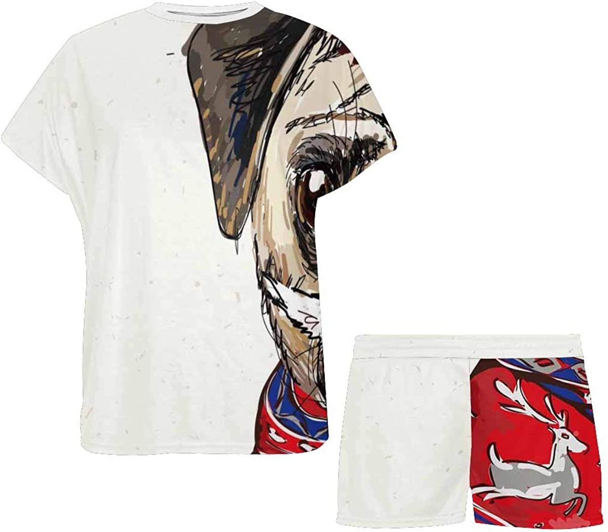 INTERESTPRINT Santa Pug Dog Women's Breathable 2 Piece Shorts Pajama Sleepwear Set