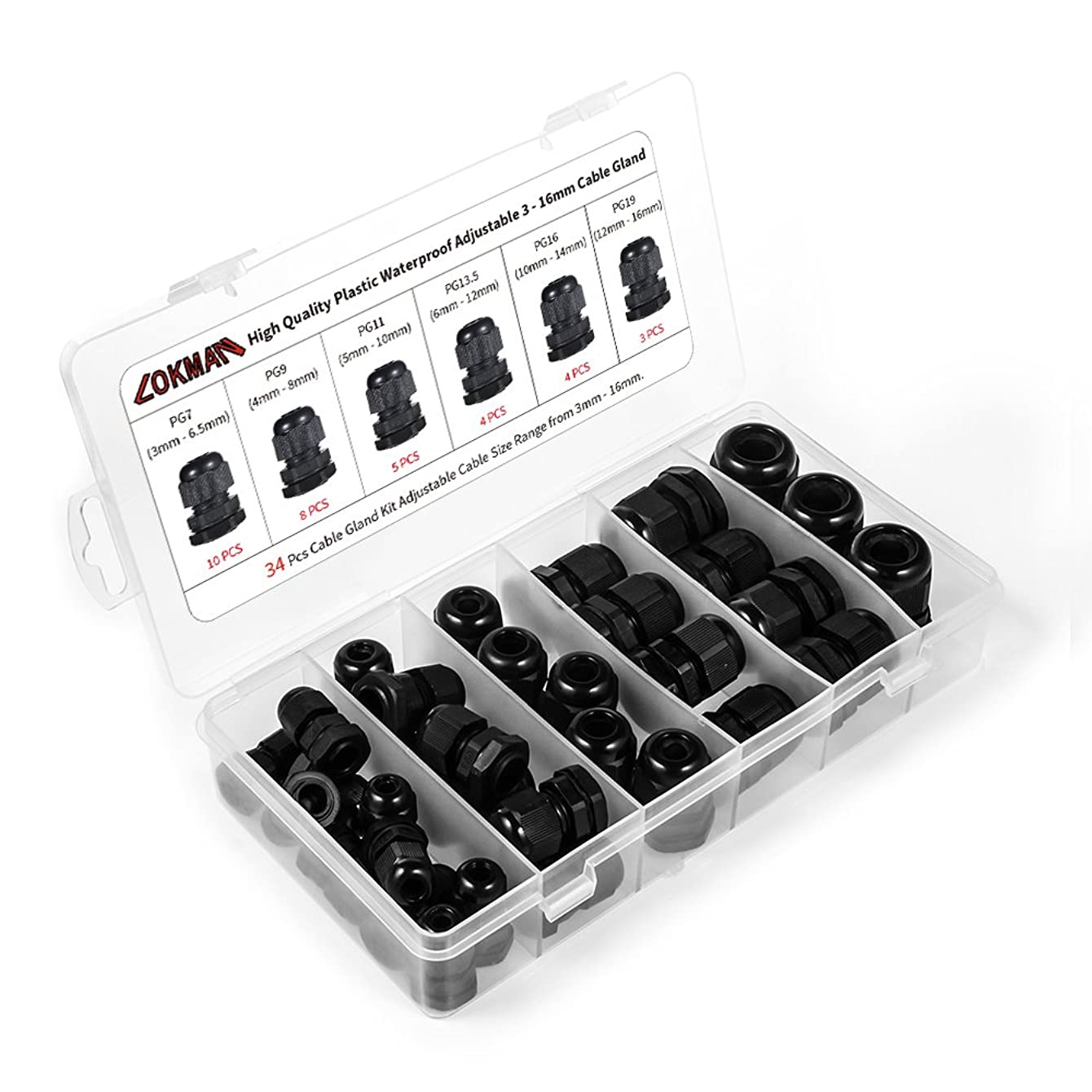 Cable Gland -LOKMAN 34 Pack Plastic Waterproof Adjustable 3-16mm Cable Connectors Cable Gland Joints With Gaskets, PG7, PG9, PG11, PG13.5, PG16,PG19 With Durable PP Storage Case (Cable gland kit)