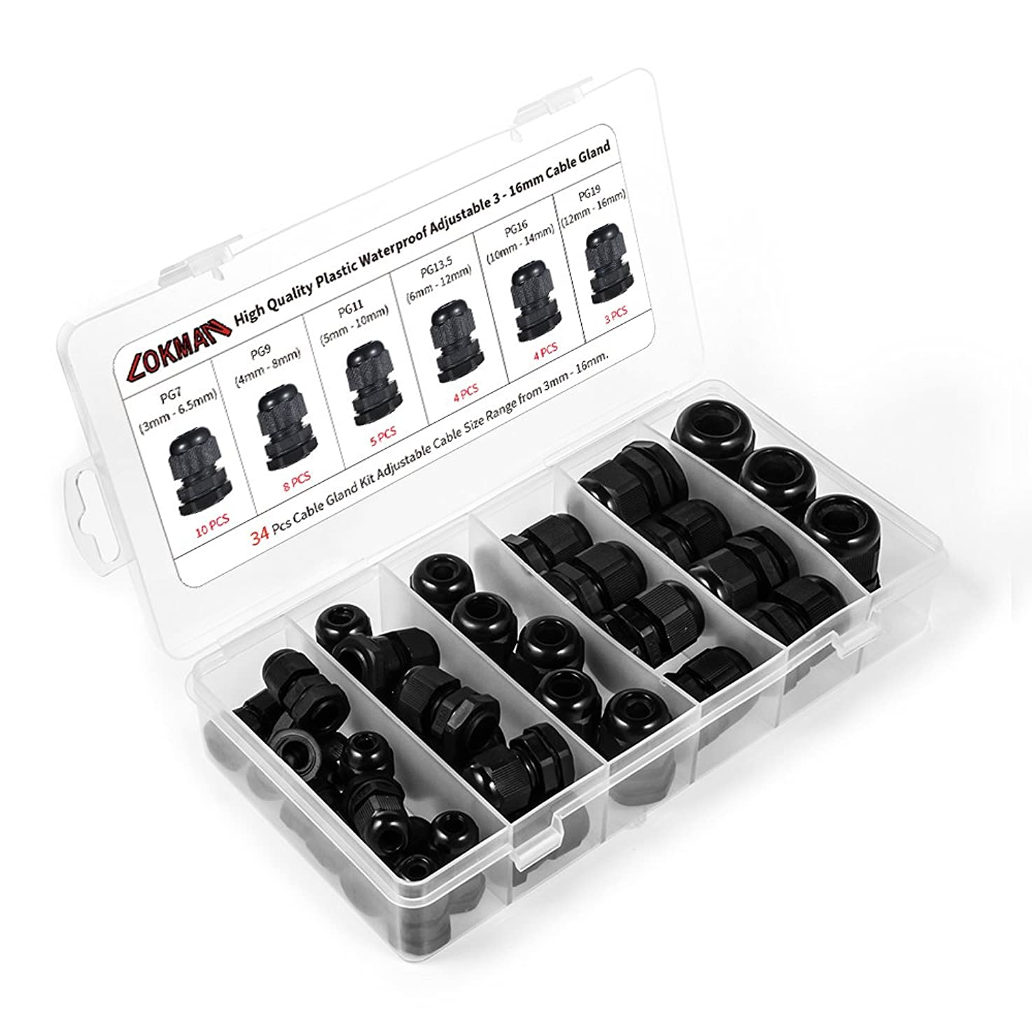 Cable Gland -LOKMAN 34 Pack Plastic Waterproof Adjustable 3-16mm Cable Connectors Cable Gland Joints With Gaskets, PG7, PG9, PG11, PG13.5, PG16,PG19 With Durable PP Storage Case (Cable gland kit) lbkqismghvgdh8