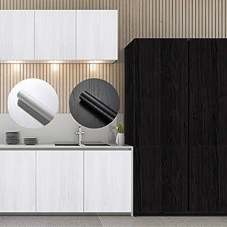 Klebefolie Holz Opitik Dekorfolie 0,61  5M Möbelaufkleber selbstklebend Möbelfolie PVC tapete Küche Schutzfolie Schrankaufkleber Wasserdicht Türaufkleber für Schrank Tür Tisch schwarz