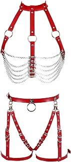 Women Leather Harness Full Body Metal Chain Waist Garter Belts Set Punk Festival Dance Rave Costumes