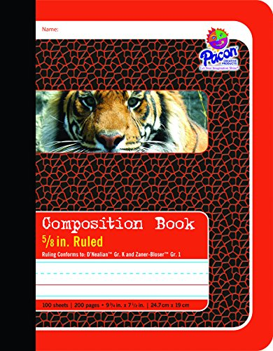 Pacon Primary Composition Book Bound, 5/8-in. Ruled, 100 Sheets, Red (2427)