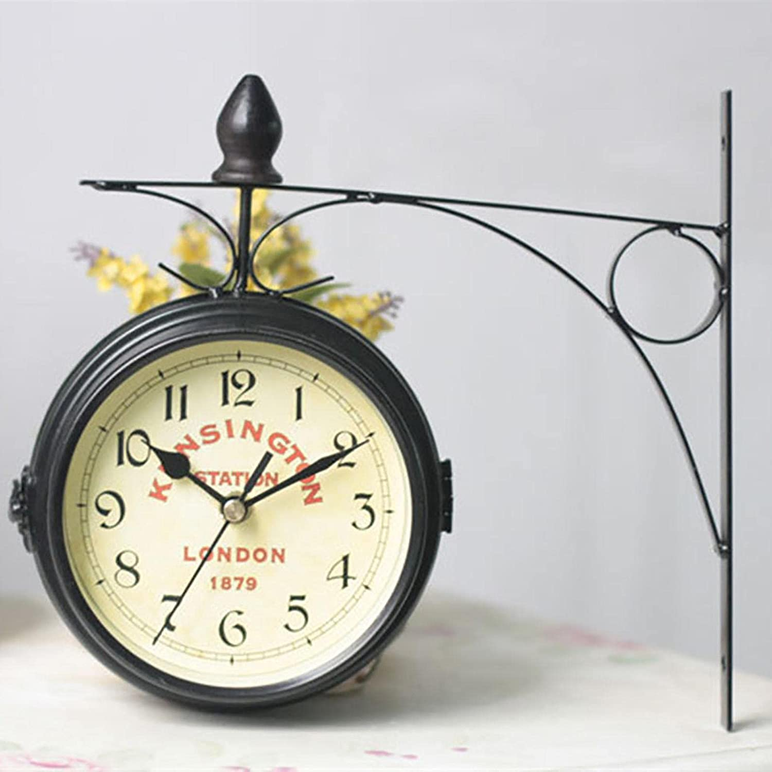 Station Max 82% OFF Clock Free shipping anywhere in the nation Double-Sided Clo Wall