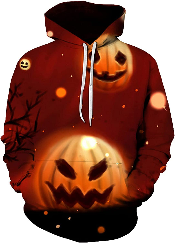 BEUU Halloween Hoodies for Mens, 3D Funny Pumpkin Black Cat Bat Print Hooded Sweatshirts Casual Novelty Pullover