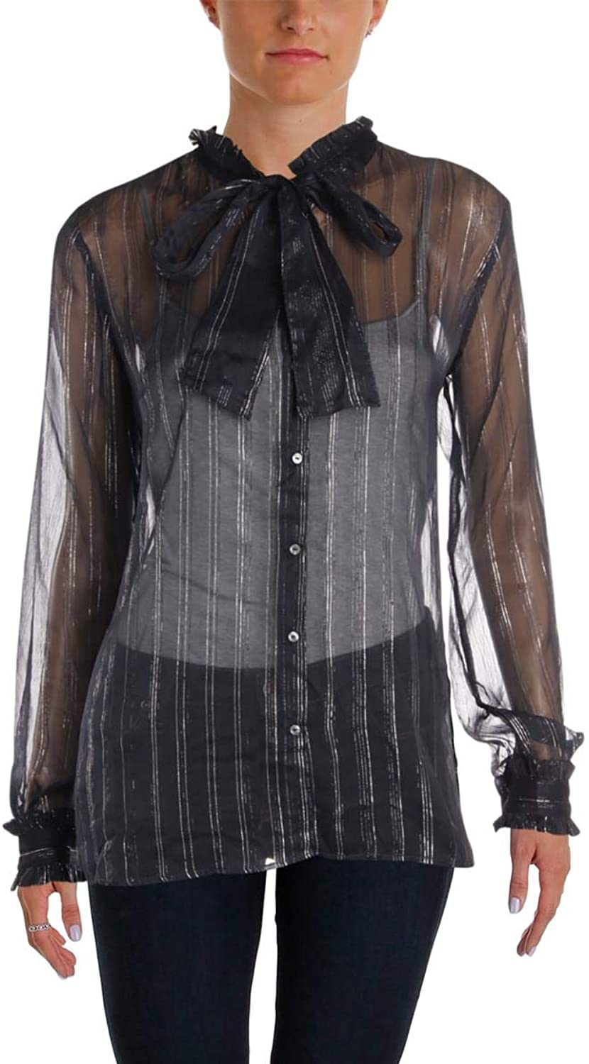 Scotch & Soda Womens Metallic Stripes Sheer Blouse