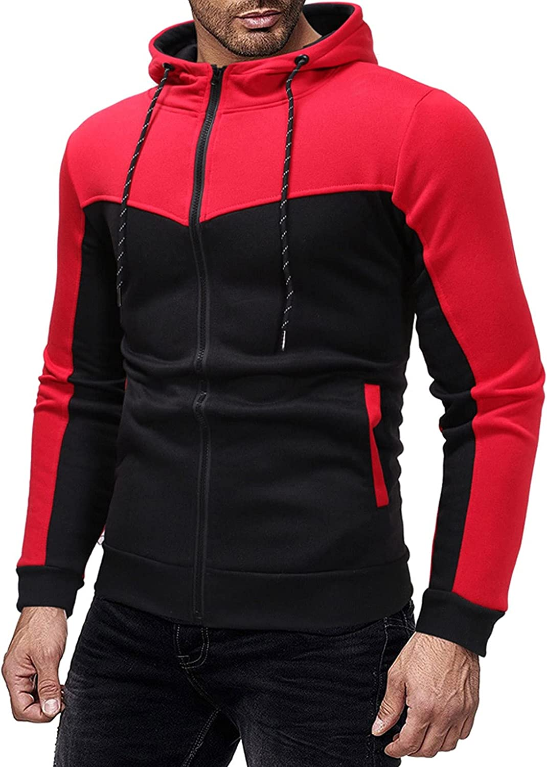 XXBR Patchwork Hoodies for Mens, Fall Fashion Zipper Color Block Drawstring Hooded Sweatshirts Slim Fit Casual Jackets