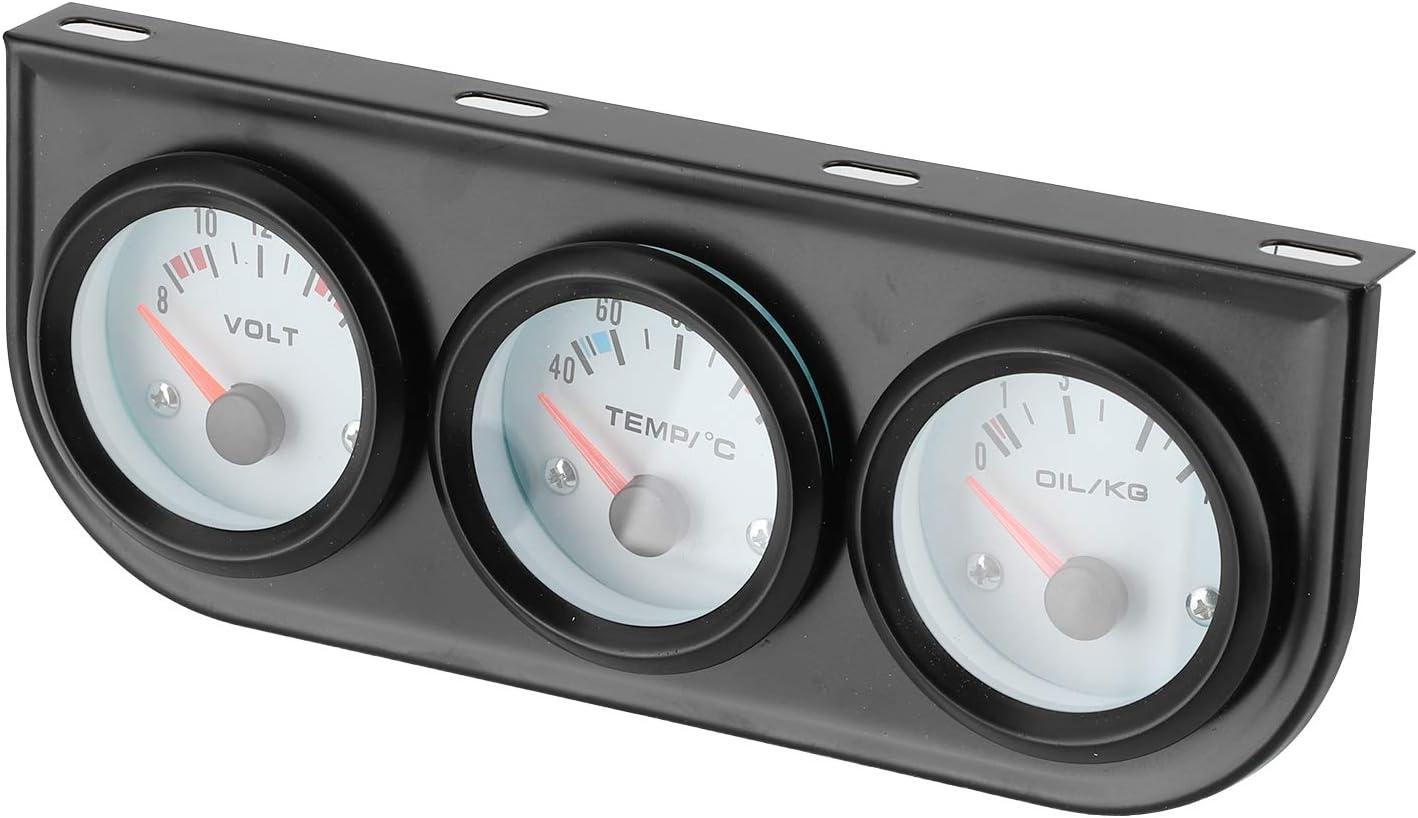 Kit de medidor triple para automóvil, medidor universal de temperatura del agua 3 en 1 para automóvil, 52 mm, 12 V, 3 en 1 + voltímetro + indicador de presión de aceite para 4/6/8 cilindros y gasolina