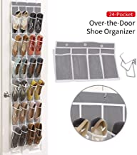 Nesee Over The Door Shoe Organizer 24 Large Crystal Clear Pockets Heavy Duty Oxford Fabric with 3 Metal Hooks and 3 Free Silicone Hooks Hanging Shoe Organizer for Door Shoe Storage