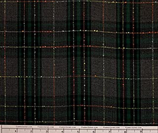 Raised Knott Poly Rayon Plaid Stretch Suiting Fabric, Stretch Suiting Fabric, Suiting Fabric-Black/Green