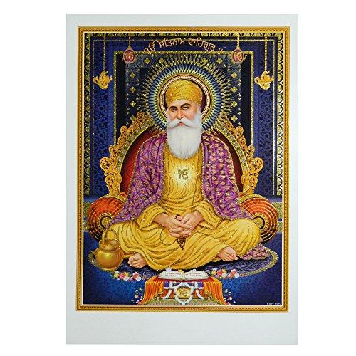 Bild Guru Nanak 50 x 70 cm Sikhismus Kunstdruck Plakat Poster Gold Indien Hochglanz Dekoration