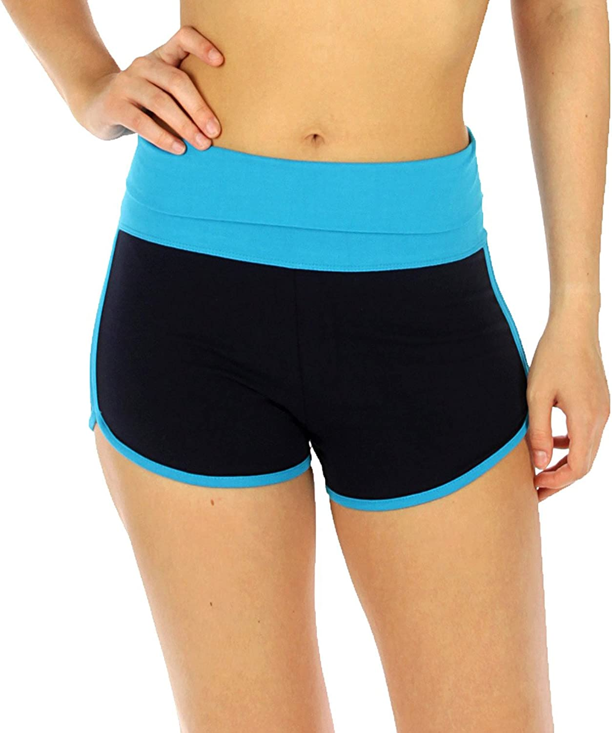 SERENITA Cotton Active Workout Yoga Shorts for Women, Fold Over Waist Athletic Running Pants