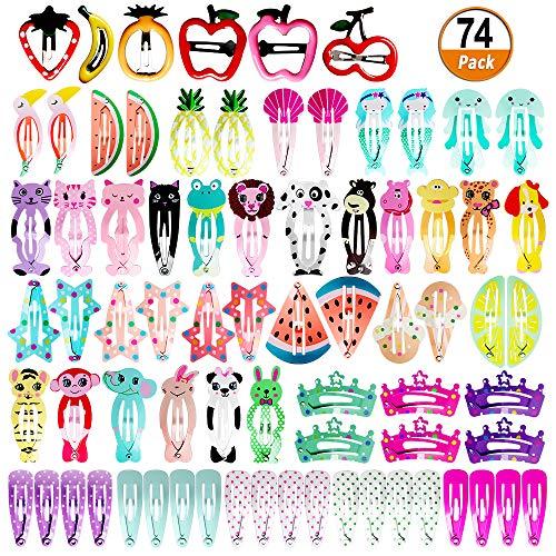 74 Pcs Haarspangen Mädchen Haarschmuck Baby Mädchen Haarklammern Kinder Mädchen Haarspangen Cartoon Muster Haar Clips Metall Haar Pins Haarschmuck für Mädchen und Baby Mädchen