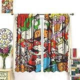 Petpany Super Mario Adventure Comic Game Wear cortina de impresión tipo barra de 72 x 63 pulgadas (183 x 160 cm), panel y kit de encaje, apto para dormitorio