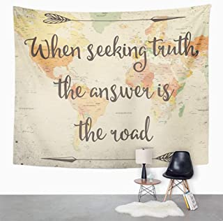 Eriesy Tapices Tapiz Tapestry Wall Hanging Old Style World Map with Inspirational Quote Overlaid on Top Wall Hanging for Bedroom Living Room Dorm 130x150cm