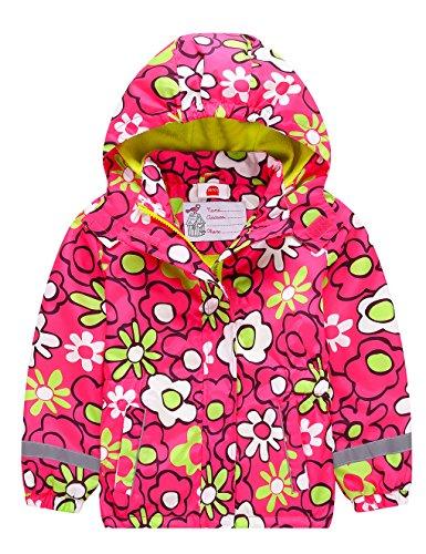 Kinder Mädchen Matsch und Buddeljacke Fleece Wasserdicht Winddicht Regenjacke mit Kapuze, Farbe Mehrfarbig Red, Size 110