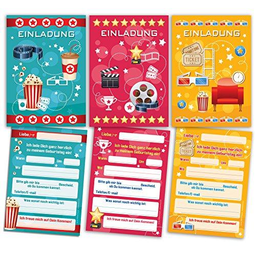 12 Einladungskarten zum Kindergeburtstag Kino Party (4 x gelb, 4 x pink, 4 x blau) gemischt / Cinema Party / schöne und bunte Einladungen