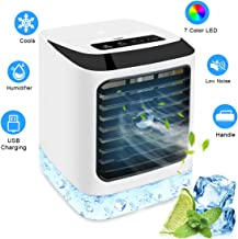 Portable Air Conditioner Fan, NEWXLT Evaporative Cooler Personal Humidifier Mini Desktop Cooling Fan USB Operated 7 Colors LED Light 3 Wind Speed Levels for Home Office Indoor Outdoor Use